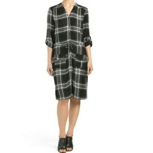 Spense Black Gray Plaid Button Shirt Dress Medium